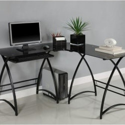 Walker Edison L-Shaped Black Glass Top Computer Desk - Black - Add style to your workstation with the modern appeal of the Walker Edison L-Shaped Black Glass Top Computer Desk – Black. This beautiful desk features a powder-coated steel frame with a graceful profile and contemporary curves that support a clear tempered black glass desktop. A corner and side extension give you ample room for all your desktop necessities. Other features include a slide-out keyboard tray and side tower rack. About Walker EdisonSpecializing in quality furniture at low prices Walker Edison Furniture Company manufactures a wide variety of furniture pieces for the North American marketplace. From bedroom furniture and desks to coffee tables dining tables and TV stands Walker Edison provides practical decor solutions for today's functional homes. With factories strategically located all over the world Walker Edison balances cost with low-priced raw materials and skilled artisans to deliver smart furniture pieces that fit every budget.