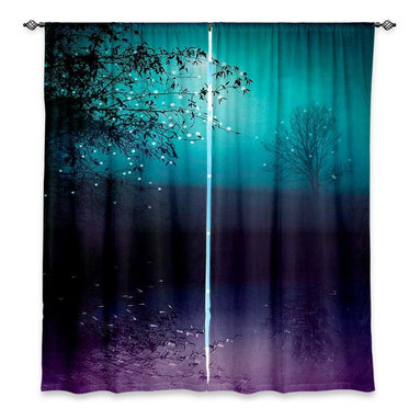 """DiaNoche Designs - Window Curtains Lined by Monika Strigel Song of the Midnight Bird - DiaNoche Designs works with artists from around the world to print their stunning works to many unique home decor items.  Purchasing window curtains just got easier and better! Create a designer look to any of your living spaces with our decorative and unique """"Lined Window Curtains."""" Perfect for the living room, dining room or bedroom, these artistic curtains are an easy and inexpensive way to add color and style when decorating your home.  This is a woven poly material that filters outside light and creates a privacy barrier.  Each package includes two easy-to-hang, 3 inch diameter pole-pocket curtain panels.  The width listed is the total measurement of the two panels.  Curtain rod sold separately. Easy care, machine wash cold, tumble dry low, iron low if needed.  Printed in the USA."""