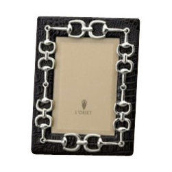 L'Objet - L'Objet Platinum Equestrian Links Crocodile Leather Frame 4x6 - L'Objet is best known for using ancient design techniques to create timeless, yetdecidedly modern serveware, dishes, home decor and gifts. Platinum Plated Photo Frame Leather Wrapped Faux Crocodile All Around Beveled Glass. Stands Horizontally or Vertically. Choose 4x6, 5x7, 8x10 Size. Memories are cherished like jewels, so it is only fitting that a photograph sitwithin a frame inspired by fine jewelry. Each frame is meticulously handcraftedand detailed with beveled glass, satin liner, leather back, and decorative closures.