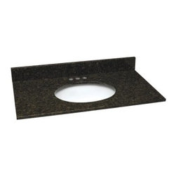 Design House 49W x 22D in. Granite Single Sink Vanity Top - The undermount Design House 49W x 22D in. Granite Single Sink Vanity Top perfectly coordinates with a variety of vanity styles to give any bathroom a distinctive look that a homeowner can be proud to show off to friends and family. Available in a wide range of color options, this easily installed piece will reinvigorate your décor in exciting ways that will have every guest talking. Choose from black pearl, golden sand, tropical brown, uba tuba, and Venetian gold to bring out the most in your surroundings and create the luxurious bathroom you've always dreamed of having. Whether you're remodeling or starting from scratch, this easy-to-install vanity top is a must-have for the homeowner who wants gorgeous interior design and superior functionality. The spacious design provides ample counter space for appliances, toiletries, towels, and more. It also includes three pre-drilled holes that make installing a faucet easy, squared edges that evoke a more modern look while catching excess water, and there's even a matching granite back splash! A back splash gives your bathroom a more finished look and serves as a terrific barrier between your wall and the vanity to prevent any mold and water damage. Lastly, an oval bowl at the heart of this top is crafted from vitreous glass that's well known for having a uniquely grainy surface and offering durability that can be depended upon to never chip or wear. The Single Sink Vanity Top is backed by a 1-year limited warranty that protects against defects in materials and workmanship.About Design HouseWith Design House, you can design with your whole house in mind. Design House's range of home decor products boasts several categorizations that easily coordinate every room in your home. WholeHouse encompasses complete home packages that coordinate finish and style across major product categories, and TruMatch ensures matching finishes across all product categories. Design Hous