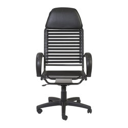Euro Style - Euro Style Bungie Flat Executive High Back Chair X-KLB16520 - There cannot be too many Bungie chairs. The cool comfort of this design is as popular as ever. This version is made with flat cords and an all leather headrest. It invites you to lean back and think big thoughts or simply admire your to-do list that's completely done.