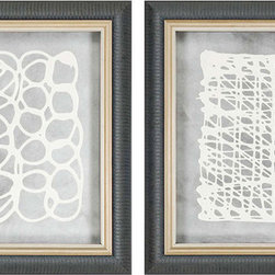 Paragon Decor - Deco Movement Set of 2 Artwork - Mixed Media on Metal - Shadow Box