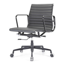 "Meelano - M341 Eames Style Aluminum Group Office Chair All Black Everything in Leather - Add a healthy pinch of style to your nine-to-five with this sleek Eames-inspired ergonomic chair. A classic of modern design, it's crafted in rich Italian leather and stainless steel for a minimalist look that's majorly attractive. Its ergonomic features and distinctive ribbed seat make it a ""must"" for your harmonious and healthy office."