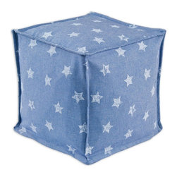 Chooty & Co. - Chooty & Co. Denim Stars Zippered Beads Foot Stool - Blue - BP13S9024 - Shop for Ottoman & Footstools from Hayneedle.com! Rest your feet on the celestial comfort of the Chooty & Co. Denim Stars Zippered Beads Foot Stool Blue a star-patterned pouf with a zippered cover of 100% cotton. Custom made in the USA this casual ottoman is filled with EPS styrofoam beads a high-quality filler that provides excellent resiliency and durability.About Chooty & Co.A lifelong dream of running a textile manufacturing business came to life in 2009 for Connie Garrett of Chooty & Co. This achievement was kicked off in September of '09 with the purchase of Blanket Barons well known for their imported soft as mink baby blankets and equally alluring adult coverlets. Chooty's busy manufacturing facility located in Council Bluffs Iowa utilizes a talented team to offer the blankets in many new fashion-forward patterns and solids. They've also added hundreds of Made in the USA textile products including accent pillows table linens shower curtains duvet sets window curtains and pet beds. Chooty & Co. operates on one simple principle: What is best for our customer is also best for our company.