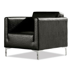 Zuri Furniture - Kessler Accent Chair with Chrome Feet - Black - Add a hint of refinement and genuine comfort to your space. Kessler is great for the living room or the office reception.