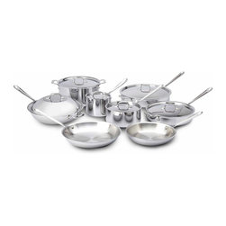 All Clad - All Clad SS Cookware Set, 14 pc. - Timeless design, outstanding performance, effortless cleaning and lifetime durability come together to make the Stainless Collection cookware  All-Clads most popular. Featuring innovative bonded construction combining an interior layer of aluminum for even heating and an 18/10 stainless cooking surface for optimum culinary performance, All-Clad Stainless cookware is a classic expression of ideal form and function. Premium tri-ply construction with an aluminium core to deliver even heat distribution.