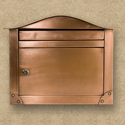 Kalen Locking Wall-Mount Copper Mailbox - This beautiful copper mailbox features an elegantly curved top, eye-catching corner embellishments, and a sleek, rectangular body and insertion slot. The locking door ensures security.