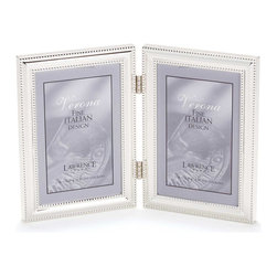 Lawrence Frames - 4x6 Hinged Double (Vertical) Metal Picture Frame Silver - A classic silver plated frame with delicate caviar beading around the inside and outside edges.  A hinged double frame is a great way to display multiple photos.  This silver plated and lacquer coated frame has a rich and lustrous silver finish.  High quality navy blue velvet backing comes with hangers for wall mounting.    Heavy weight 4x6 hinged double metal picture frame is made with exceptional workmanship and comes individually boxed.