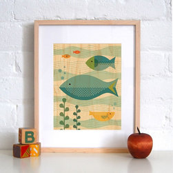 Petit Collage Fish Baby - Print on Wood - Fish Baby - Print on Wood
