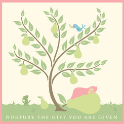 Murals Your Way - Nurture Pear - Girl Wall Art - Painted by Sheri McCulley, the Nurture Pear - Girl wall mural from Murals Your Way will add a distinctive touch to any room
