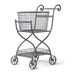 Home Decorators Collection - Toulouse Shopping Cart - The Toulouse Shopping Cart evokes old world markets. Crafted of metal in powder-coated, weathered grey finish, the basket is great for fresh linens or kitchen items. The wheels roll and the top basket is removable. Cart collapses for easy storage. Includes removable basket.