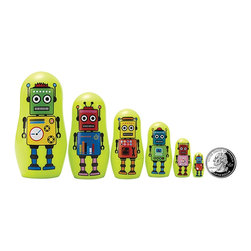"""The Original Toy Company - The Original Toy Company Kids Children Play Robot Micro - These great micro size nesting dolls range in size from 3.25"""" tall to a mere 3/4"""" per set Collect them all. Gender: Both. Weight: 1 lbs."""