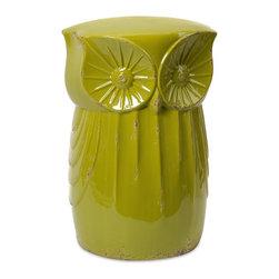 IMAX Worldwide Home - Norris Owl Garden Stool - 100% Ceramic. 18.5 in. H x 12.5 in. W x 11.25 in. L