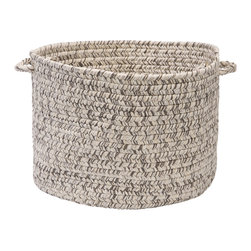 "Colonial Mills, Inc. - Corsica Silver Shimmer Utility Basket, 18"" x 12"" - This natural braided storage basket in shimmery off-white and warm gray has the freshness and serenity of a smooth, sandy beach. Use it to keep your surroundings just as calm and clean by tossing your loose newspapers, towels or flip-flops inside."