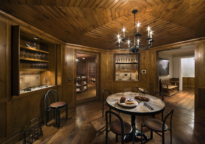 Contemporary Wine Cellar by SemelSnow Interior Design, Inc.