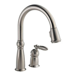 Delta - Delta 955-SS-DST Victorian Single Handle Pull-Down Kitchen Faucet (Stainless) - The Delta 955-SS-DST is a Victorian style single-lever-handled high-arc pull-down kitchen faucet that comes in a beautiful, stainless steel finish, making it a vibrant addition to any 2-hole mount kitchen sink. The pull-down spout features 2-function options and a MagnaTite docking system, making quick, easy work of cleaning larger sinks and awkwardly sized dishes. This faucet comes with a lifetime faucet and finish limited warranty to the original consumer purchaser to be free from defects in material and workmanship, and a 5-year limited warranty for usage in all industrial, commercial, and business applications.
