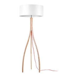 ParrotUncle - Russia Ash Wood Tripod Base With Drum Shade Floor Lamp - Watch how the light shining in the white drum lamp shade. This floor lamp is a mash-up of traditional and modern. All the classic details make your home shine in the right light.