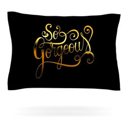 """Kess InHouse - Roberlan """"So Gorgeous"""" Gold Black Pillow Sham (Cotton, 40"""" x 20"""") - Pairing your already chic duvet cover with playful pillow shams is the perfect way to tie your bedroom together. There are endless possibilities to feed your artistic palette with these imaginative pillow shams. It will looks so elegant you won't want ruin the masterpiece you have created when you go to bed. Not only are these pillow shams nice to look at they are also made from a high quality cotton blend. They are so soft that they will elevate your sleep up to level that is beyond Cloud 9. We always print our goods with the highest quality printing process in order to maintain the integrity of the art that you are adeptly displaying. This means that you won't have to worry about your art fading or your sham loosing it's freshness."""