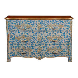 Frontgate - Malvaux Commode/Chest - Cherry and mahogany wood with a beige finish and blue accenting. Three drawers. Coordinates with other items from our French Heritage Park Avenue Collection. Refresh a bedroom or hall with modern French flair. Our Malvaux Commode/Chest introduces a vibrant blue scrolling design to this timeless shape, accented with silver drawer pulls, key escutcheons, trim, and ormolu.  .  .  .