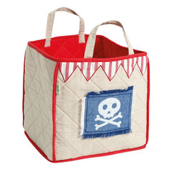 """Wingreen - WinGreen Toy Bag - Pirate Shack - Our Pirate Toy Bag is lightly padded and is appliqued and embroidered with """"Bert"""", our friendly skull and crossbones!  Red 'bunting-style' border and red lining and trim. Machine washable. Size: 15.75"""" x 15.75"""""""