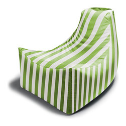 Jaxx Bean Bags - Juniper Outdoor Bean Bag Chair, Lime Green Stripes - Bid farewell to hard wood or metal outdoor chairs! The Juniper Outdoor Bean Bag Chair is the clever combination of a comfy bean bag mixed with a luxurious patio chair. As with all of our outdoor line, the Juniper gets its name from one of our favorite midtown Atlanta thoroughfares. Its tapered form creates a unique sculptural effect, much like the city