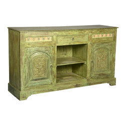 """Sierra Living Concepts - Green Dutch Hand Carved Reclaimed Wood Sideboard Buffet Cabinet - Add a fresh and friendly look to your dining room or kitchen with our Apple Green Dutch Sideboard. This hand crafted 65"""" long cabinet is built with reclaimed wood from Gujarat. This solid wood buffet offers lots of storage options with two closed side cupboard sections, a two shelf open center section and a pull out drawer."""