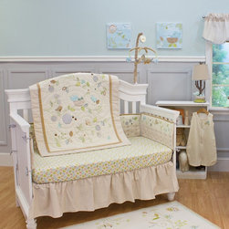 Nurture - Nurture Nest 4 Piece Crib Set Multicolor - 108004 - Shop for Bedding Sets from Hayneedle.com! Birds owls and an assortment of friendly fliers alight ambling vines for a peek at the new hatchlings in the charming Nurture Nest 4 Piece Crib Set which features 100% cotton fabrics and genuine hand-quilting. This four piece set includes a quilt fitted crib sheet dust ruffle and a wearable blanket. The quilt border is a khaki leaf print on cotton twill with an ivory & khaki Swiss dot cotton center panel and tan corduroy trim. Made from 100% cotton (exclusive of decoration) with cotton batting the quilt is hand-quilted for added dimension. Birds and owls are appliqued in corduroy on printed suede and cotton twill in shades of gray aqua and tan. Lush with elaborate embroidery details you'll love the meandering vines and leaves bumbling bees dragonflies and ladybugs. While your child is too young to use a comforter simply use the rod pocket on the back and use it as a wall hanging. Birds in shades of aqua green and tan adorn the soft and comfortable fitted crib sheet. Made from 100 % cotton this 180 thread count sheet fits a standard crib or toddler-size mattress. The dust ruffle is made from 100% cotton shirred twill in a beautiful accenting khaki leaf print. Keep your baby warm at night with the 100% cotton wearable blanket. Featuring soft baby cream and khaki Swiss dots interlocked with embroidery this wearable blanket has a two-way zipper for easy entry and diaper changes. A pull over zipper closure covers zipper and protects your baby's delicate skin. Fits sizes 0-6 months. About Nurture ImaginationBased in California Nurture Imagination creates collaborative relationships with artists designer and product innovators to bring a diverse mix of imaginative products to parents and children. This thoughtfully chosen array of products and features can be seen in their many nursery collections or just in the way they approach the needs of children and the parents who never tire of caring for them.