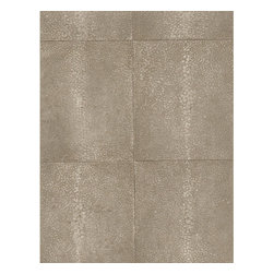 Kathy Kuo Home - Galuchat Industrial Stippled Hide Tile Wallpaper - Gray, Coffee, Standard - This wall covering combines the luxurious appearance of stippled hide, the industrial chic of large tile and the ease of durable coated paper. Put it up as a subtle yet exotic backdrop to your favorite setting.