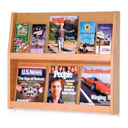 """Wooden Mallet - Six Magazine and Twelve Brochure Wall Display - Wooden Mallet's full-view literature displays are a classic and beautiful way to display your literature. Slanted back shelves allow full view of literature while keeping it neat and organized. Available in three designer colors to coordinate with any dcor. Add our optional floor stand to create a floor display. Features: -Available in light oak, medium oak or dark red mahogany finishes. -Furniture quality construction with solid oak sides and shelves sealed in a durable state-of-the-art finish. -Wood finishes perfectly compliment Wooden Mallet's Dakota Wave furniture collections. -Removable dividers keep literature and magazines neat and orderly. They let you display 4"""" brochures or 8 1/2"""" x 11"""" and wider literature. -All racks are predrilled with hardware included for simple wall mounting. -Optional floor stand is sold separately for 49"""" tall displays. -No assembly required. -All Wooden Mallet products are warrantied for one year against defects in materials and workmanship. Specifications: -Pocket Dimensions: 11.5"""" H x 26.75"""" W x 1.25"""" D. -Rack Dimensions: 28.25"""" W x 4.75"""" D x 24.5"""" H."""