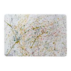 "Splatter Recycled Placemat - Go ahead and spill ketchup and mustard all over the place - they'll blend right in with these Jackson Pollack-esque placemats.Recycled vinyl with splattered paintReversible17""x11.5"
