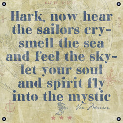 "One Red Buffalo - ""Into the Mystic"" - The perfect wall decor with nautical character to show your passion for the sea. This print is complete with subtle seafaring elements on a weathered looking canvas background and an inspirational quote by popular lyricist Van Morrison. It is finished off with nautical inspired grommets in all four corners."
