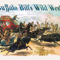 """Buyenlarge.com, Inc. - Buffalo Bill: Attack on Stagecoach- Gallery Wrapped Canvas art 12"""" x 18"""" - Another high quality vintage art reproduction by Buyenlarge.  One of many rare and wonderful images brought forward in time.  I hope they bring you pleasure each and every time you look at them."""