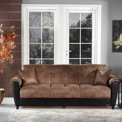 Aspen Mocha Microfiber and Bonded Leather Base Sofa Sleeper - This piece was crafted for added comfort and coziness in your home interior. Enhance your living room with this wonderful piece from Aspen collection. This Aspen Mocha Microfiber and Bonded Leather Base Sofa Bed will be perfect for smaller home or room. Sit back and relax in the deep seat and enjoy lounging on this sofa by day.