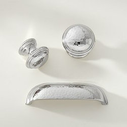 """Ella Hammered Pull, Vintage Pewter - Transform the look of your kitchen or bath instantly with new knobs and drawer pulls. Now also available in a polished-nickel finish, our Ella collection features hand-hammered details and a vintage, timeworn look. Knob: 1.25"""" diameter, 1.5"""" deep Large Knob: 1.75"""" diameter, 1.75"""" deep Pull: 4"""" wide x 1"""" deep x 1.5"""" high Brass with antique bronze or vintage pewter finish. Hand hammered for a mottled finish and textural feel. Includes mounting hardware. Catalog / Internet only."""