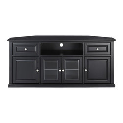 Crosley Furniture - 60 in. Corner TV Stand in Black Finish - Three adjustable shelves. Beautiful raised panel doors. Tempered beveled glass doors. Brushed nickel hardware. Hand rubbed, multi-step finish. Warranty: 90 days. Made from solid hardwood and wood veneer. Assembly required. 59.75 in. W x 23.5 in. D x 26.5 in. H (133 lbs.)This signature corner TV cabinet accommodates most 60 in. flat panel TVs, and is handsomely proportioned featuring character-rich details sure to impress. Is perfect for blending with the family of furniture that is already part of your home.  Features raised panel doors for concealed storage and also tempered beveled glass doors not only add a touch of class; they protect those valued electronic components, while allowing for complete use of remote controls. The open storage area generously houses media players and the like.