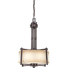 Wright Bronze with Amaretto Glass 3-light Pendant | Overstock.com