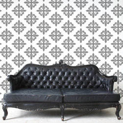 """My Wonderful Walls - Fleur de Lis Pattern Wall Stencil  for Painting - Feminine yet formidable, you cannot go wrong with our fleur de lis pattern wall stencils. Offering a unique twist on the iconic symbol, our fleur de lis pattern wall stencils will you have feeling like French royalty in no time _ minus the powdered wigs. Cleverly integrated, this artistic emblem radiates its classic grace multiple times within our fleur de lis pattern wall stencils. Appropriate for formal spaces and family spaces alike, our fleur de lis offers endless opportunities for your creativity to transform your humble walls. All of our fleur de lis wall decor stencils are self-adhesive and require zero additional (and potentially harmful) spray adhesive on our end. Just peel and stick! Each pattern piece is 8.9"""" around, and each stencil sheet is approximately 2'w x 3'h."""