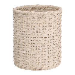 Organize It All - White Round Wicker Wastebasket - Who said wastebaskets can't have a personality of their own? Incorporate our wicker wastebasket into your designs to create a personal look. This piece is perfect for home or office use!