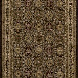 None - Westminster Tabriz Brown Panel Rug (3'11 x 5'7) - This machine-woven,Oriental print polypropylene area rug is stain-resistant and durable. The deep brown base is accented by shades of gold,olive,red,beige,ivory and camel. The traditional design will add warmth style to any space.