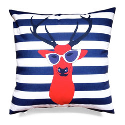 """Les Coussins d'Emilie - """"Deer"""" Cushion - Red - Make a statement with this beautiful double-sided printed pillow!"""