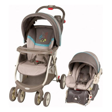 Baby Trend - Baby Trend Envy Travel System - Scooter Multicolor - TS27833 - Shop for Car Seat/Stroller Combo Travel Systems from Hayneedle.com! With its fun design and gender-neutral colors the Baby Trend Envy Travel System - Scooter is a great choice for any family. The rear-facing car seat is made for infants from 5-to-30 lbs. and less than 30 in. Featuring EPS energy-absorbing foam for superior side-impact protection this car seat also features an easy-to-adjust five-point harness and includes a LATCH equipped base so getting it in and out is simple. This stroller has a comfortable multi-position reclining padded seat and large soft head support for your child's comfort. Comfortable to push the adjustable ergonomic handle is padded with foam for added ease. Your baby will ride in comfort with the adjustable canopy which blocks the sun and wind and you'll love the peek-a-boo window that allows you to peek in on your baby. Keep your cups steady and your keys and phone handy with the convenient parent tray which has two cup holders and features a covered compartment. The three-point harness will keep your baby securely inside while the one-hand fold makes storage simple. Additional Features LATCH equipped auto base for easy installation JPMA certified Stroller has 3-point safety harness Multi-position reclining padded seat Extra-wide ergonomically shaped handles Handle is height-adjustable Handle is padded with foam for added comfort Adjustable canopy with peek-a-boo window Parent tray includes 2 cup holders Parent tray also features a covered compartment Easy one-hand fold About Baby TrendFor over two decades Baby Trend has been developing innovative solutions to meet the changing needs of modern parents. As one of the worldwide leading manufacturers of juvenile products the company's goal is to provide reliable products at an affordable price. From the Snap N Go stroller to the Diaper Champ Baby Trend's revolutionary designs are celebrated by busy parents everywhere. Based in Ontario California Baby Trend protects your children with car seats and other products that exceed federally regulated safety standards.