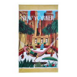 "Grandin Road - The New Yorker Rooftop Beach Towel - Large, beautifully detailed beach towel featuring the ""Rooftop Girl"" cover from The New Yorker magazine. Made of 100% ring-spun cotton, woven to 450 gsm. Generous 40"" x 70"" size. Reverses to a solid-color back. Preshrunk cotton ensures towel retains its full size. Catch some rays upon a vintage cover from The New Yorker, in the form of a soft terry cloth towel, featuring the ""Rooftop Girl"" cover from July 6 & 13, 2009. This well-detailed scene depicts a sunglasses-wearing girl reading a book in her striped hammock, shading her lounging tabby cat, and recreating the tropics in her city rooftop garden. Take this generously sized and soft terry towel to your own roof, pool, park, or beach and create your own scene - or give one as a gift. Check out the other designs in The New Yorker Beach Towel collection.. . . . . Double-stitched along all edges for durability. Machine wash cold, tumble dry low. Wash with like colors in cold water; do not bleach. Imported."