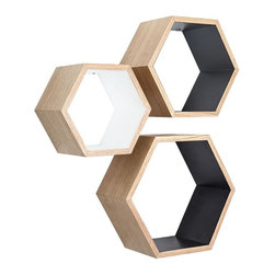 Rustic Ash Wood Hexagon Shelves - Set of 3, White Grey Black - These Nesting Hexagon Shelves are the ultimate stylish yet functional addition to your living space. They offer a surprising amount of space to display your favorite decorative items. Showcasing the mid-century modern style, they are the perfect design element to enhance any wall.