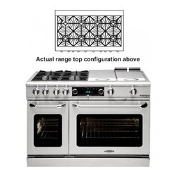 """Capital - Connoisseurian Series CSB488-N 48"""" Dual Fuel Natural Gas Range with 8 Sealed Bur - Connosieurian dual fuel ranges give you the benefits of a gas cooktop with an electric oven The CSB488 range features 8 sealed burners and the oven utilizes convection technology with moist assistAvailable in 11 color options"""