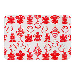 "KESS InHouse - Miranda Mol ""Angels Singing White"" Red Holiday Memory Foam Bath Mat (17"" x 24"") - These super absorbent bath mats will add comfort and style to your bathroom. These memory foam mats will feel like you are in a spa every time you step out of the shower. Available in two sizes, 17"" x 24"" and 24"" x 36"", with a .5"" thickness and non skid backing, these will fit every style of bathroom. Add comfort like never before in front of your vanity, sink, bathtub, shower or even laundry room. Machine wash cold, gentle cycle, tumble dry low or lay flat to dry. Printed on single side."
