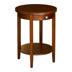 """Powell - Powell Shelburne Cherry Accent Table - Shelburne cherry accent table belongs to miscellaneous accents collection by Powell. This contemporary """"Cherry"""" accent table is convenient storage in any room of your home. A round shelf on the table provides a great space for storing magazines, coasters, or your favorite books. Made of select hardwood veneers and solid wood materials, the contemporary styling of this table has bentwood skirt, chrome knob and three square tapered legs. Some assembly required."""