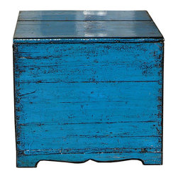 Golden Lotus - Chinese Rustic Blue Lacquer Wooden Trunk Table - This is a simple wood trunk box with rustic modern blue lacquer finish. There is a lid as an opening for storage.