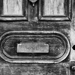 Mail Slot, New Orleans French Quarter Artwork - This beautifully weathered old door in New Orleans' French Quarter represents well the charm, history, and texture of that unique place.  16 x 24 resin coated (RC) silver-based photograph on luster surface paper. Borderless, mounted on rigid board, and signed au verso. Ships well-packed flat in a rigid box.