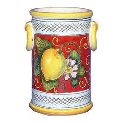 Artistica - Hand Made in Italy - Limoni Fondo Rosso: Utensil/Wine Holder with Rings - Limoni Fondo Rosso Collection: