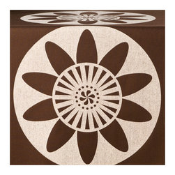 Wabisabi Green - Passion Flower Eco Table Runner, Cream/Chocolate - A stylized modern floral design in neutral brown and cream gives this table runner versatile style. Use it by itself as an everyday complement to your handsome wood table, or combine it with a colored tablecloth and other accents for a festive, eclectic look. The ecofriendly fabric and ink are just another reason to love it.